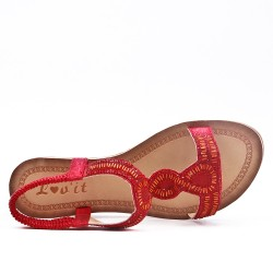 Red sandal with rhinestones