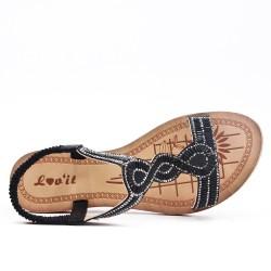 Sandale noire ornée de strass