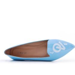 Blue patent ballerina