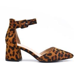Zapatos de tacón de ante leopardo con tacón