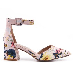 Flowery pump in faux suede with heel