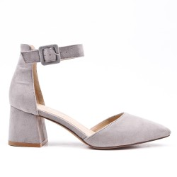 Gray suede leather pumps with heels