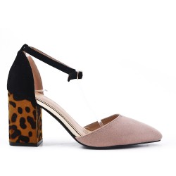 Pink sandal with leopard print heel