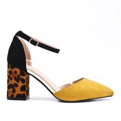 Yellow sandal with leopard print heel