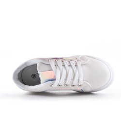 White kid's sneaker with lace