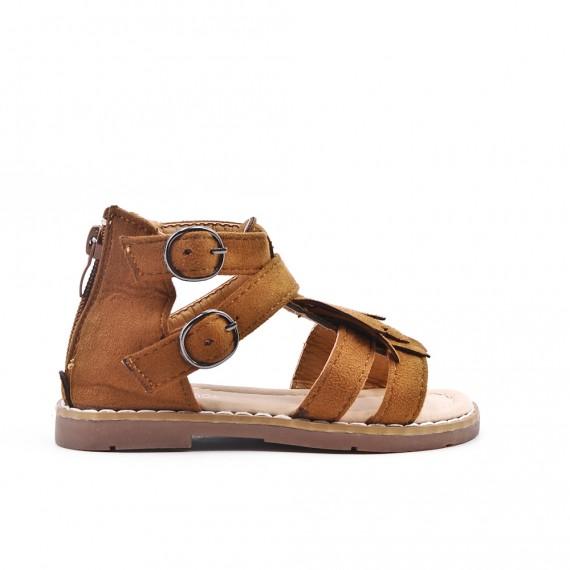Camel girl sandal with bangs
