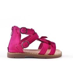 Sandale fille fushia à frange