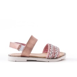 Pink girl sandal with braided bridle