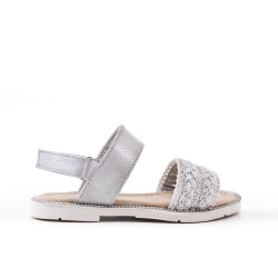 Silver girl sandal with braided bridle