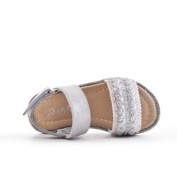 Sandale fille argent à bride tressée