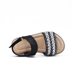 Sandale fille noire à bride tressée