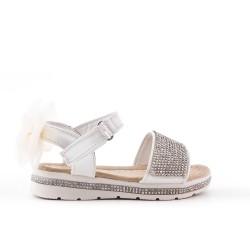 Sandale fille blanche à strass