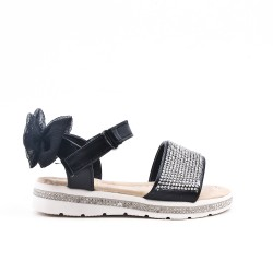 Black girl sandal with rhinestones