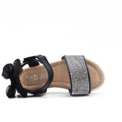 Sandalia niña negra con strass