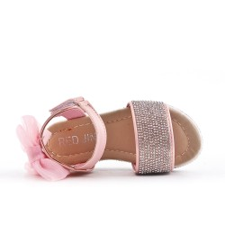 Pink girl sandal with rhinestones