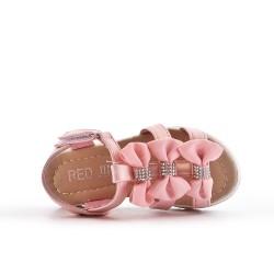 Sandale fille rose à nœud