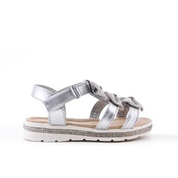 Silver girl sandal with bow