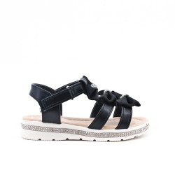 Sandale fille noire à nœud