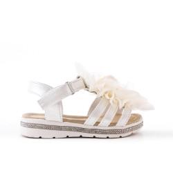Sandale fille blanche à fleur