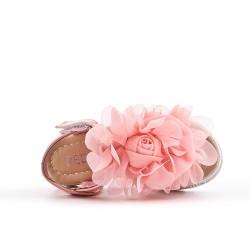 Sandalia chica rosa con flor