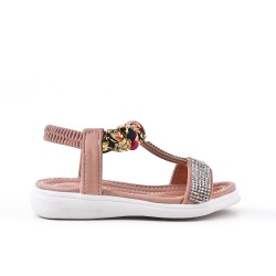 Sandale fille rose à strass