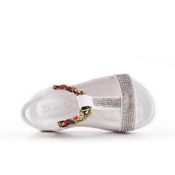 Sandalia niña blanco con strass