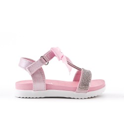 Sandalia chica rosa con lazo