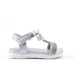 Sandale fille argent à nœud