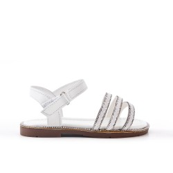 White girl sandal with braided bridle