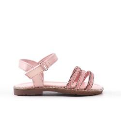 Sandale fille rose à bride tressée