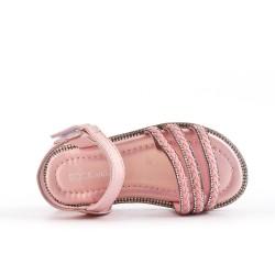 Sandalia niña rosa con brida trenzada