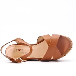Sandalias de cuña marron
