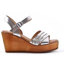 Silver wedge sandal