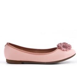 Ballerine rose en simili cuir à fleur