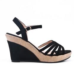 Sandale noire à talon compensé