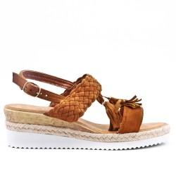 Sandale camel à talon compensé