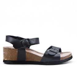 Black faux suede sandal with small wedge