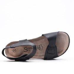 Sandale noire en cuir à petit compensé