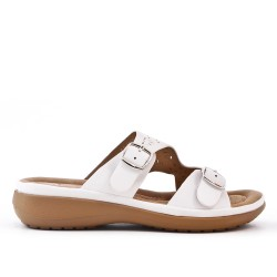 White comfort mule in faux leather