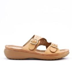 Mule confort beige en simili cuir