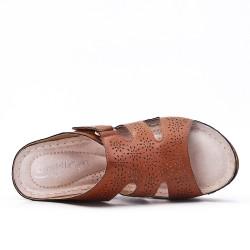 Brown mule sandal with wedge heel