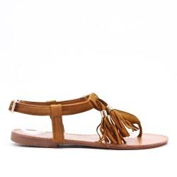 Sandale camel en simili daim à pompon