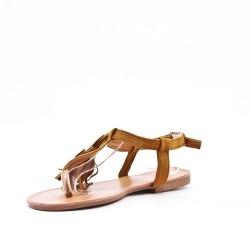 Sandalia camel en gamuza sintética con pompón