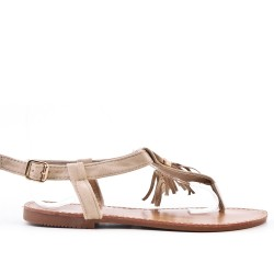Beige sandal in faux suede with pompom