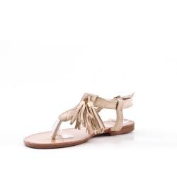 Sandale beige en simili daim à pompon