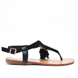 Black sandal in faux suede with pompom