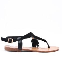 Sandalia negra en gamuza sintética con pompón
