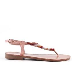 Sandale Tong rose ornée de perles