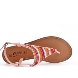 Sandalia de sandalia rosa con perlas