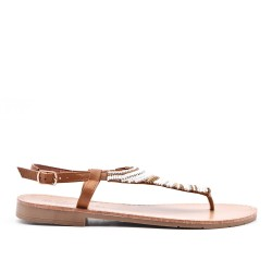 Camel sandal sandal with pearls